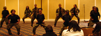 Youth Group dance symbolizing spiritual warfare