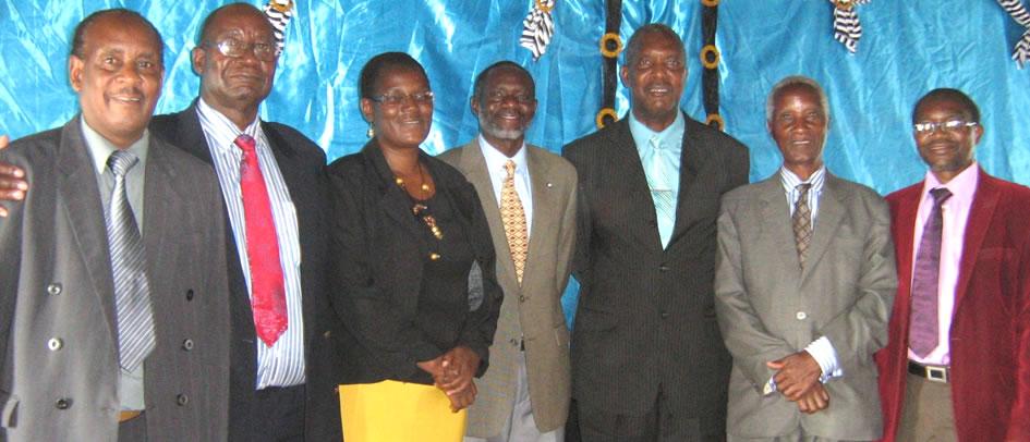Left to right: Psts E.Gova, D.Mpande, Secretary Miss T.Dube, Mission Director Kalengule Kaoma, L.Chimba, A.Matare (council chairperson), M.Dube