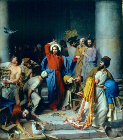Casting Out the Money Changers by  Carl Heinrich Bloch (1834-1890)