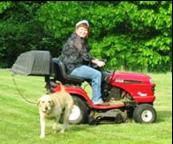 Lawn mower riding!