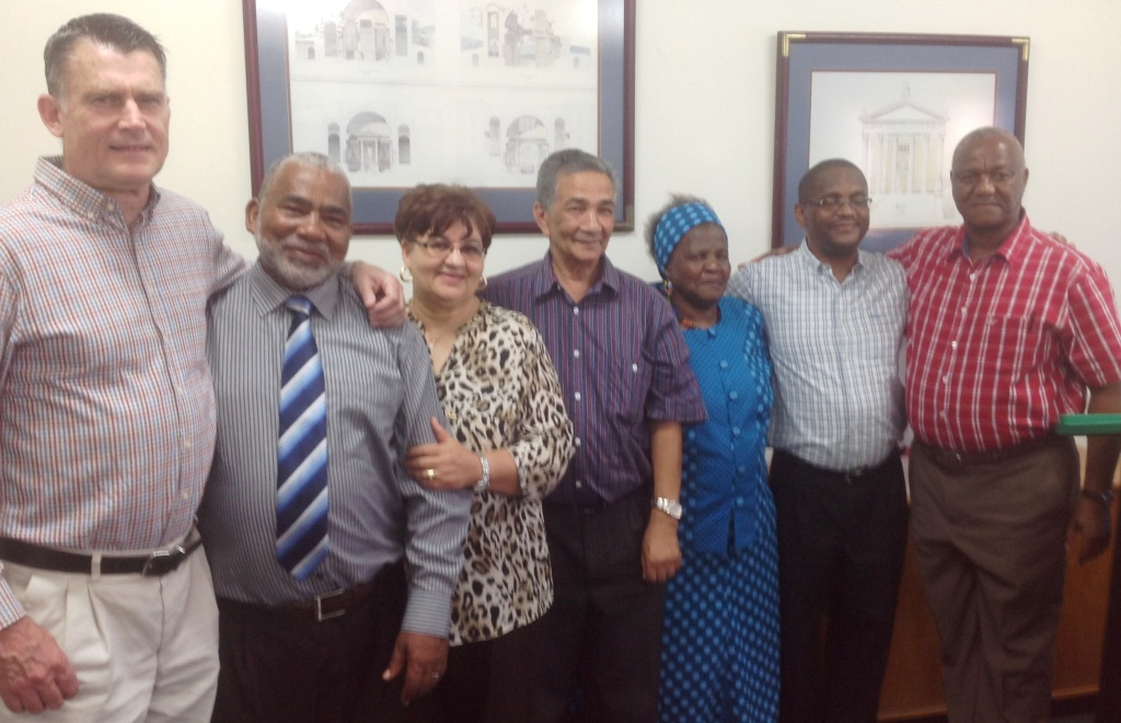 L to R: Gordon Green; Albert Abrahams and his wife, Audrey; Martin du Preez; Audrey Hlalu; Gladman Ncokazi and Zach Hlalu.