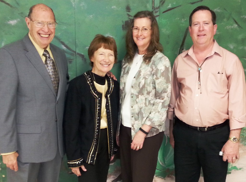 left to right is Pastor Ted and Lila Millhuff, Tammy Tkach, Pastor Tom Landess.