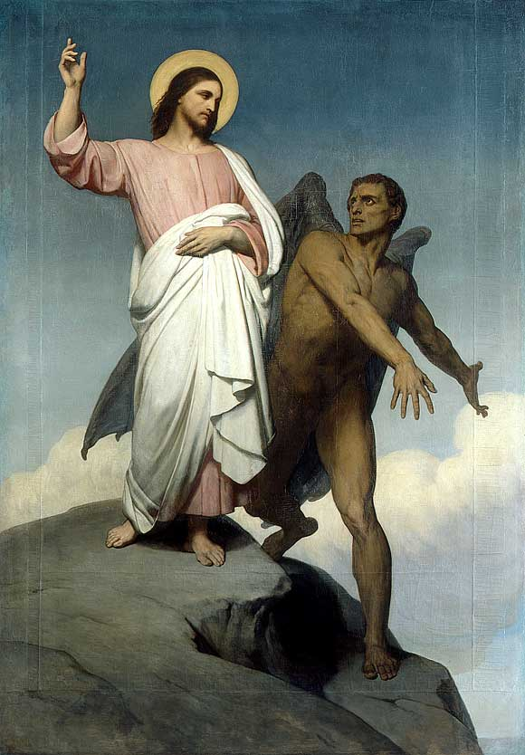 Temptation of Christ, Ary Scheffer (1854). Wikimedia Commons. public domain.