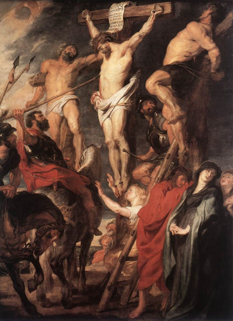 Christ on the Cross between the two theives by Peter Paul Rubens (1619). Public domain - Wikimedia.