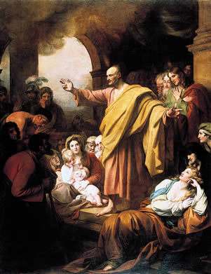 St. Peter Preaching at Pentecost, by Benjamin West, Public Domain via Wkimedia Commons