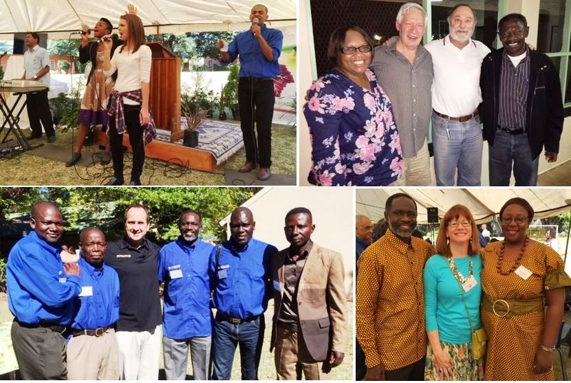 Left to right, top row: Emmanuel Okai and his son Nana Yew from Ghana; Charles Albrecht with Sylvester Nkosi from Malawi; Joseph Mpofu from Zimbabwe and Charles; Monde Skade from South Africa with Charles and Monde's wife, Pat. Middle row: conference praise team; Mutinta Nyumbu from Zambia, James Henderson from the UK, Joseph Tkach and Inyambo Nyumbu from Zambia; Bottom row: Manuel Vasco and Mariano Maganizo from Mozambique, Charles Albrecht, Kalengule Kaoma , Oliviera Kitambala and Henrique from Angola; Kalengule, Susan Williams and Kalengule's wife Nsama.