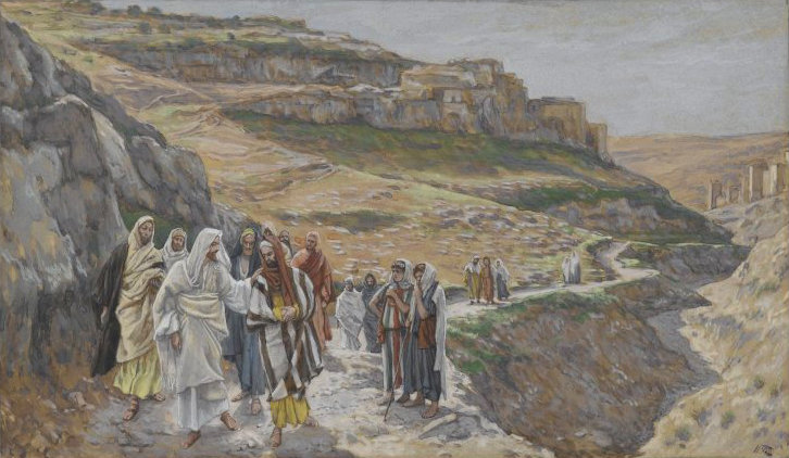 """""""Jesus Discourses with His Disciples"""" by James Tissot.  Public Domain via Wikimedia Commons."""