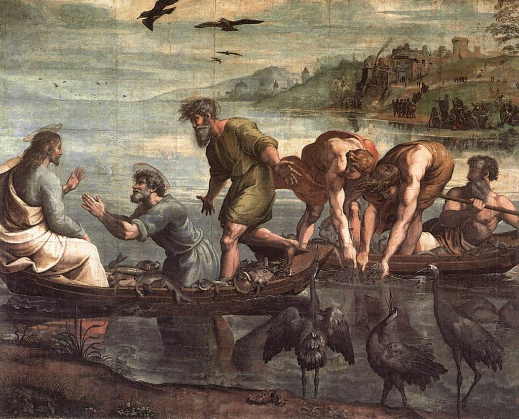 The Miraculous Draught of Fishes by Raphael (1515) (Public Domains vis Wikimedia Commons)