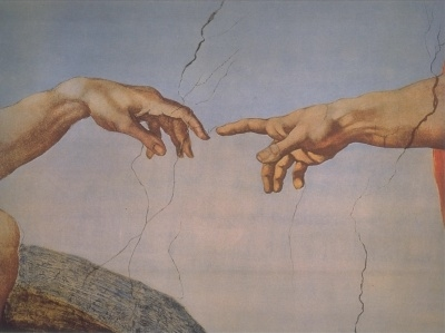 Creation of Adam (detail) by Michelangelo public domain via Wikimedia Commons