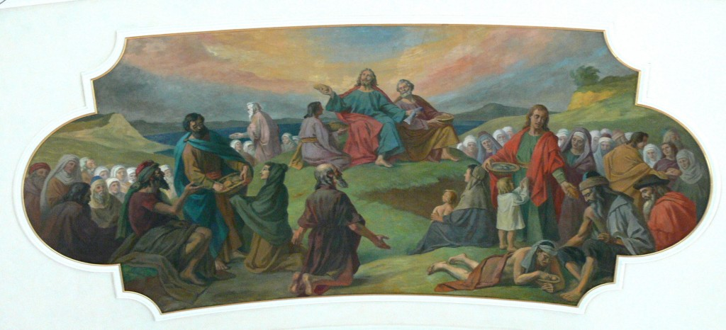 Bezau ( Vorarlberg ). Saint Jodok parish church: Fresco ( 1925 ) showing the feeding of the multitude by Ludwig Glötzle