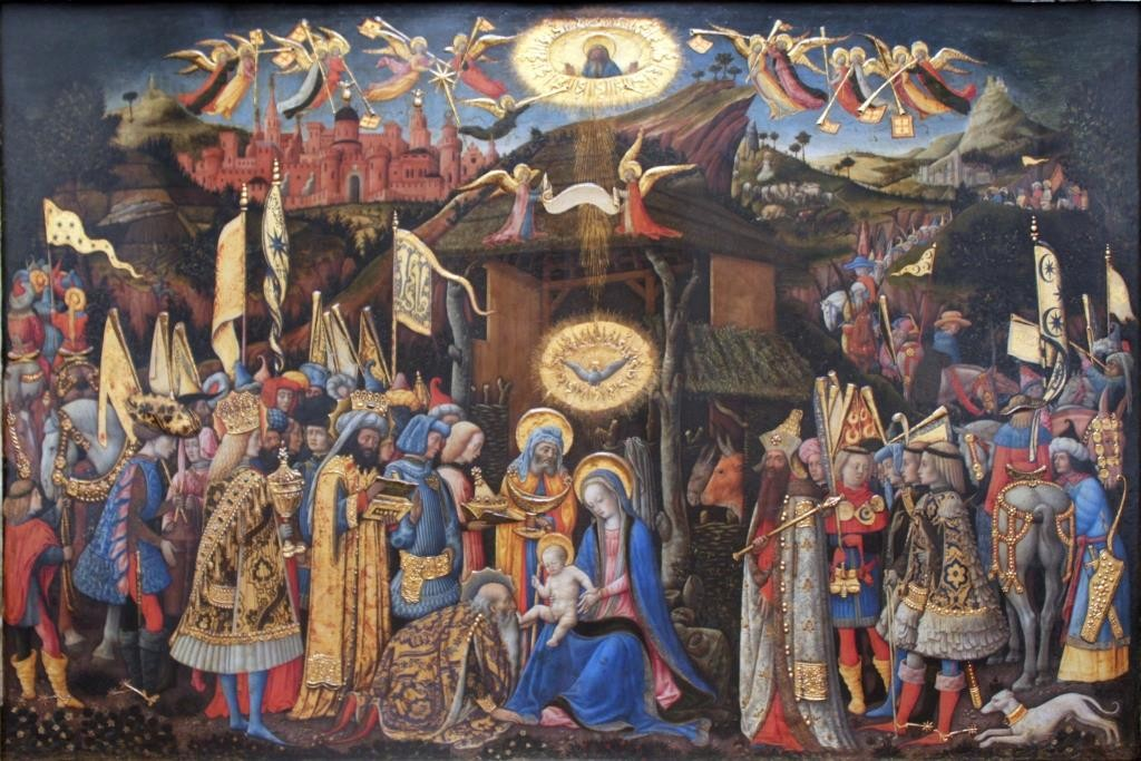 Adoration of the Magi by Antonio Vivarini (1418) (public domain via Wkimedia Commons)