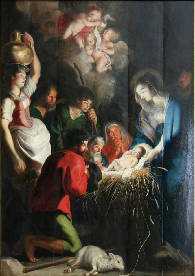 The birth of Jesus by Cornelis de Vos (1618) (public domain via WikiArt)
