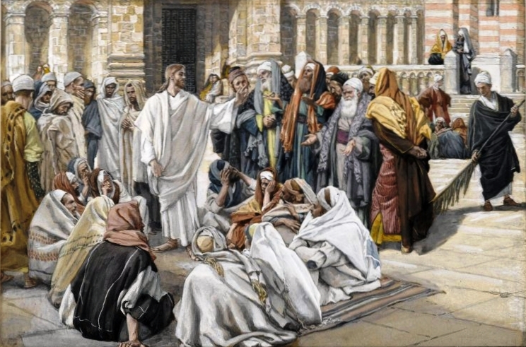 The Pharisees Question Jesus by James Tissot (public domain via Wikimedia Commons)