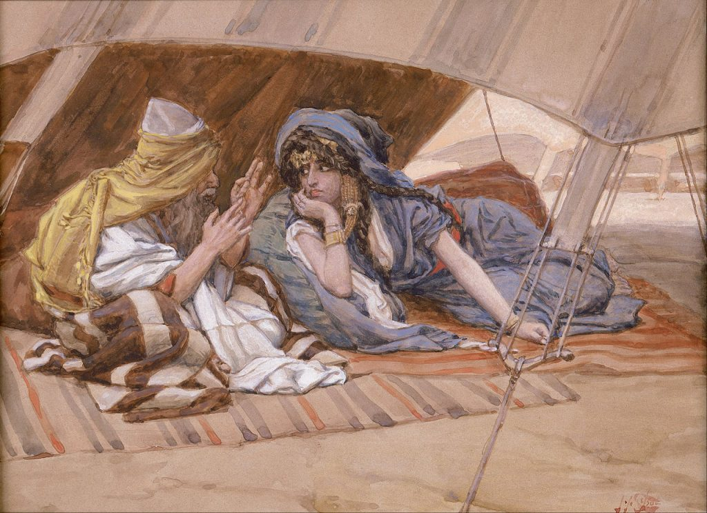 Abram's Counsel to Sarai by Tissot (public domain via Wikimedia Commons)