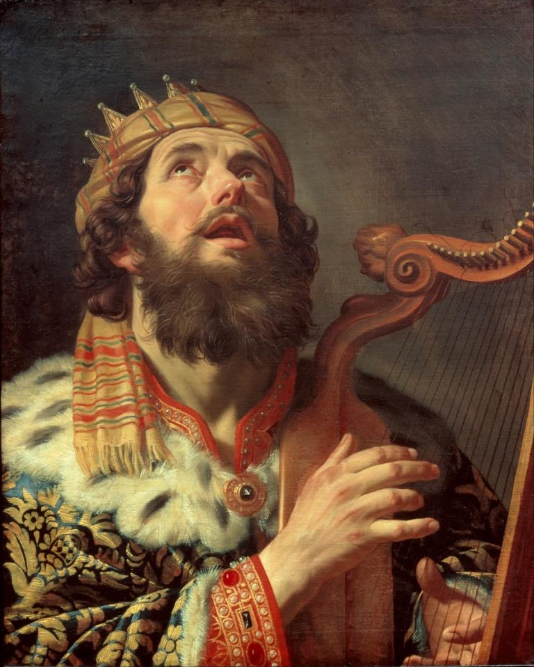 King David playing the harp (public domain via Wikimedia Commons)