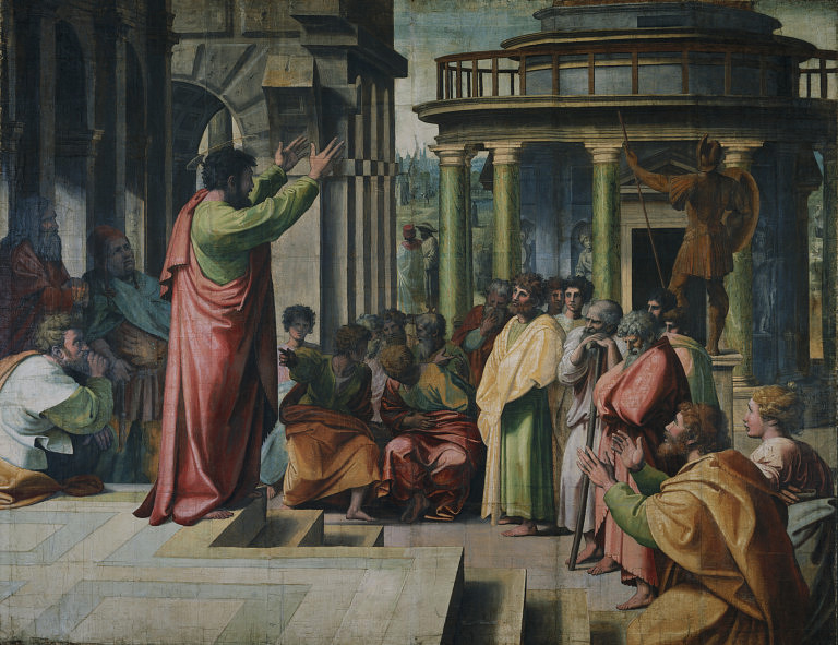 Paul Preaching in Athens by Raphael (public domain via Wikimedia Commons)
