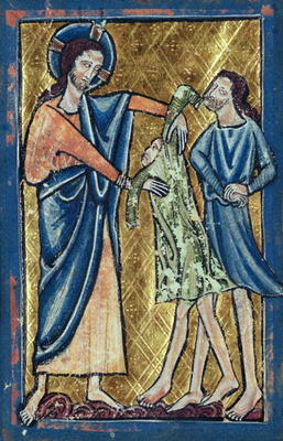 MMT223881 God Clothing Adam and Eve, from a Book of Hours (vellum); by Brailes, William de (fl.c.1230); 9.7x6.7 cm; Musee Marmottan, Paris, France; Giraudon; English, out of copyright
