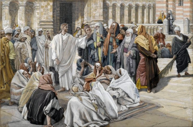 The pharisees question Jesus by Tissot (public domain via Wikimedia Commons)