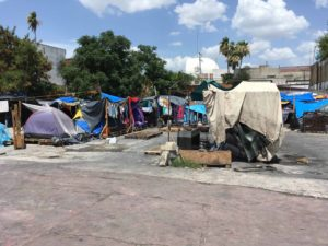 Immigrants tent city in Mexico