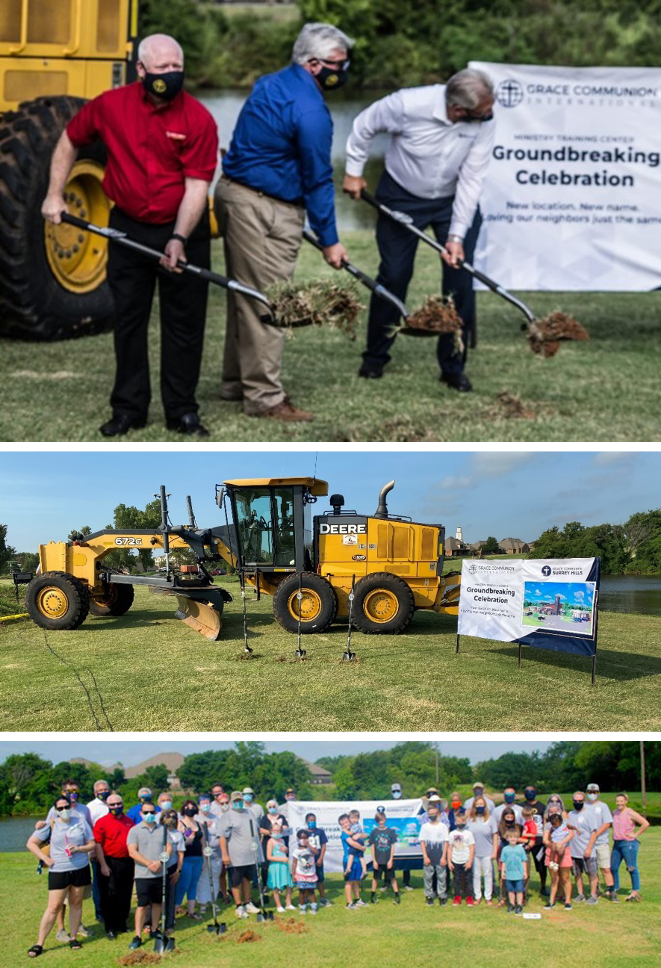 A three photo collage including a photo of Mike Rasmussen, Mat Morgan, and Greg Williams breaking ground at the MTC location.
